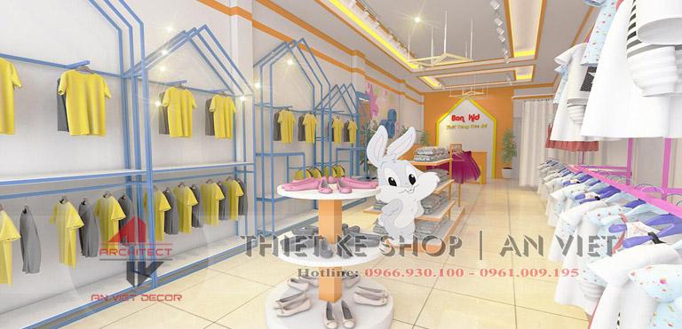 Thiết kế nội thất shop thời trang mẹ bà bé