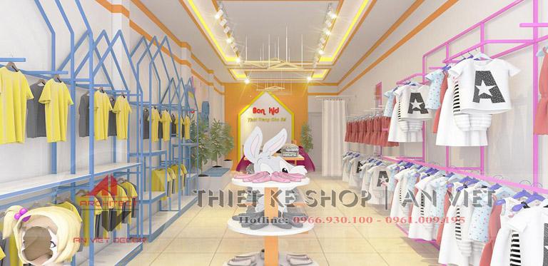 Cách bố trí kệ trưng bày cho cửa hàng quần áo trẻ em ở hải dương