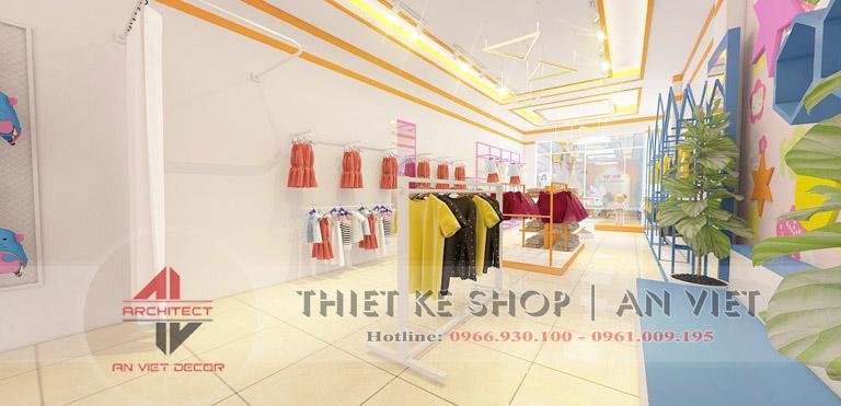 Trang trí nội thất cho cửa hàng quần áo trẻ em 50m2