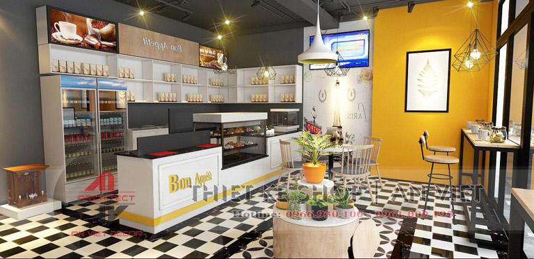 Thiết kế quầy bar, quầy pha chế quán cafe hiện đại ở hà nội