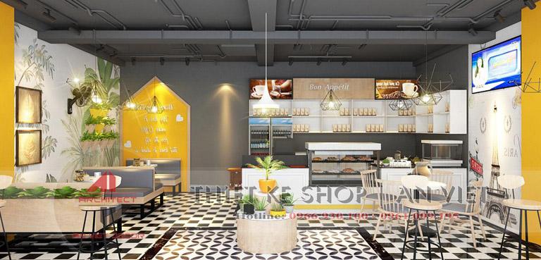 Trang trí nội thất quán cafe 60m tại Hà nội