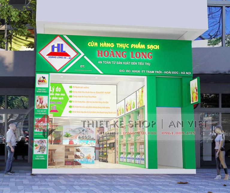 Thiết kế biển bảng mặt tiền cửa hàng thực phẩm sạch hoàng long
