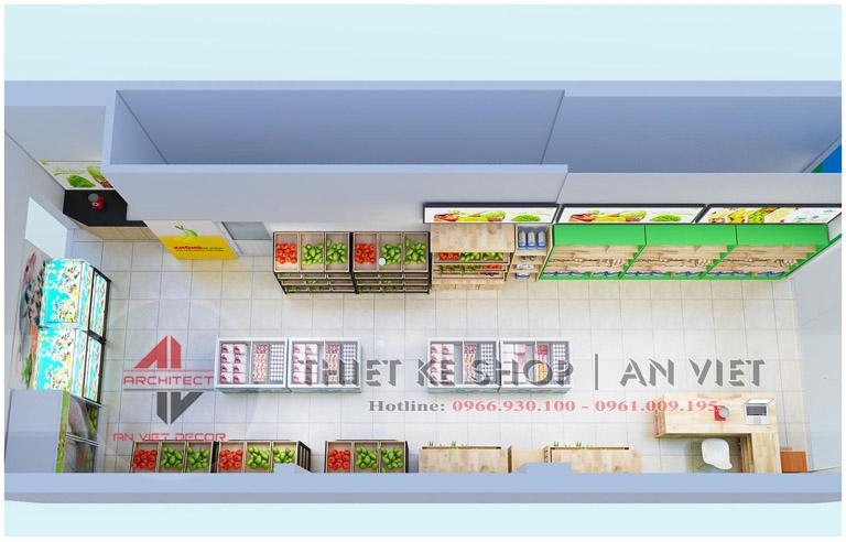 bố trí mặt bằng nội thất cửa hàng thực phẩm sạch