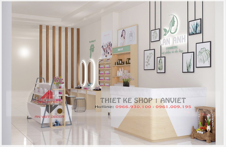 Mẫu nội thất cửa hàng mỹ phẩm 60m2 tại Hải Dương - Quầy thu ngân