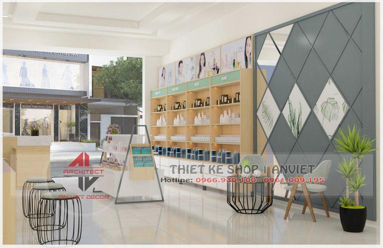 Mẫu nội thất cửa hàng mỹ phẩm 60m2 tại Hải Dương - Nội thất kệ trưng bày