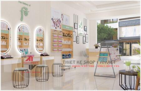 Mẫu nội thất cửa hàng mỹ phẩm 60m2 tại Hưng Yên