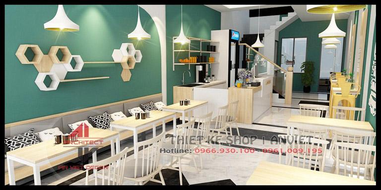 Mẫu thiết kế quán cafe hiện đại 120m2 tại Chí Linh Hải Dương - Khu Quầy Pha Chế
