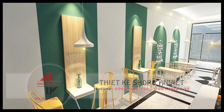 Mẫu thiết kế quán cafe hiện đại 120m2 tại Chí Linh Hải Dương