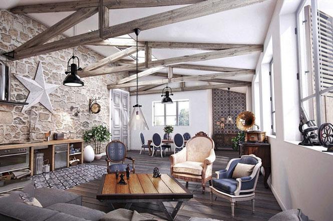 phong cách nội thất rustic cổ điển
