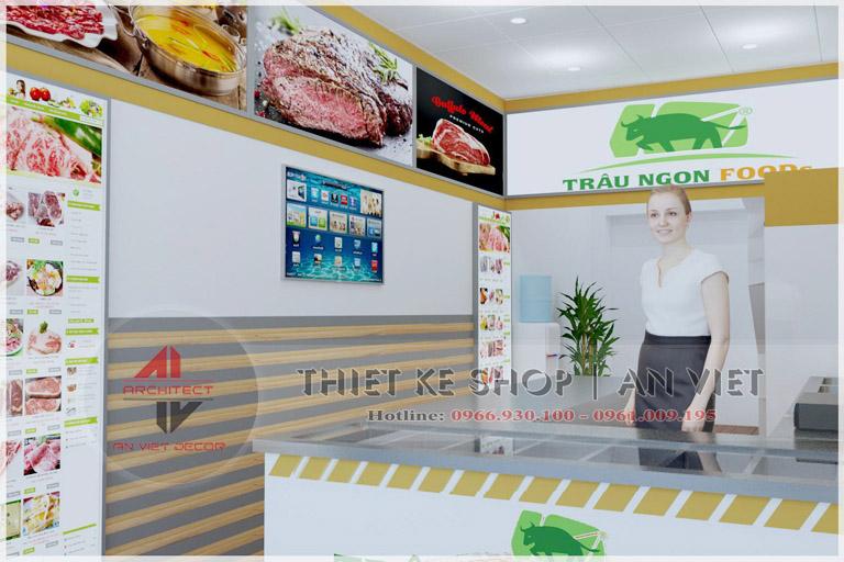 Thiết kế cửa hàng thực phẩm sạch Trâu Ngon Food ở Hà Nội
