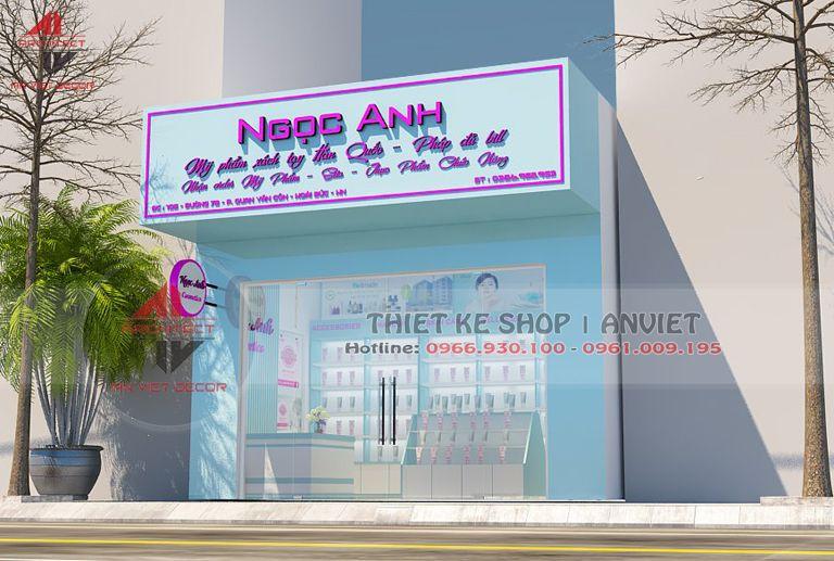 Mẫu thiết kế shop mỹ phẩm 40m2 Ngọc Anh Hoài Đức HN