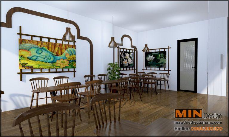 Thiết kế nội thất nhà hàng Đồ Chay 80m2 tại Hà Nội