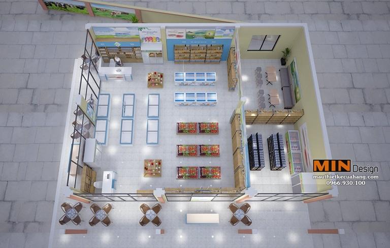 Thiết kế siêu thị sữa ASM An Sinh 120m2 ở Bắc Giang