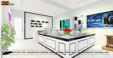 Thiết kế thi công cửa hàng điện thoại 30m2 Nhỏ Đẹp tại Thanh Hóa