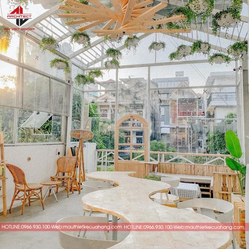 Quán cà phê sân vườn theo phong cách hiện đại